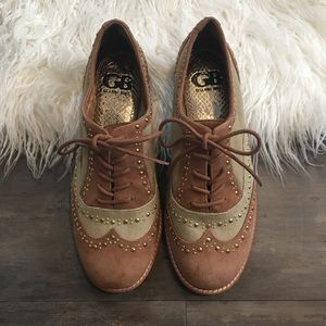 Gianni Bini Studded Lace Up Oxfords 6